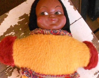 """VINTAGE CLOTH DOLL, Eskimo, native, Canadian, hand painted, 11"""" tall, soft stuffing, great color"""