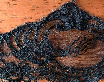 1 yard Black vintage lace trim 3 inch wide