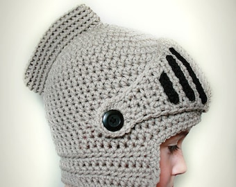 Sir Knight's Helmet Crochet Hat - Kids Knight Crochet Hat - Adult Knight Crochet Hat - Kids Knight Halloween Costume Hat - Made to Order