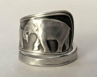 Elephant Ring, Sterling Silver Spoon Ring, Elephant Family Ring, Animal Jewelry, Animal Ring, Silver Boho Ring, Elephant Lover Gift (6792)