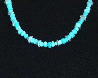 Blue jade and Silver disk bead necklace