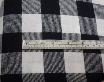 "Buffalo Plaid Flannel, White & Black Checked Flannel, 1.25"" Check, 56"" Wide, Yarn-Dyed - By the FQ, Half Yard or Yard"