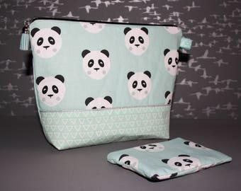 Toilet bag + pouch pattern little Pandas!