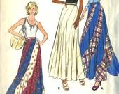 Vintage1970s Butterick 3557 Misses Bias Swirl Maxi Skirt Sewing Pattern Size Waist 25