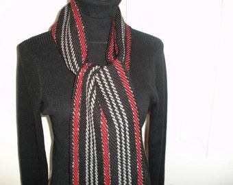 SALE, handwoven scarf, Wool Scarf, Men's Scarf, Ladies Scarves,Wool Scarf, Alpaca Scarf, Red/Black Scarf, ON SALE!! orig.75.00