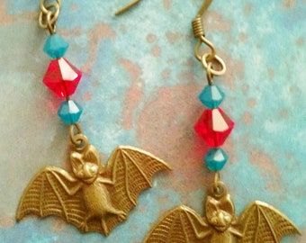 Happy Bats - unique dangle earrings with Swarovski crystals