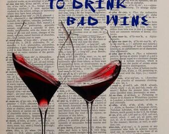 Wine Dictionary Art Print Glass Quote Wine Decor Alcohol Bar Art Home Decor Wall Gift Ideas da14024
