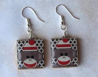 Sock Monkey Scrabble Earrings