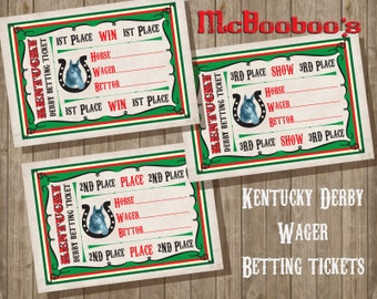 Kentucky Derby Wager Betting tickets party game Win, Place, Show,  INSTANT DOWNLOAD