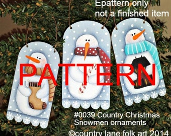 EPATTERN #0039 Country Christmas Snowmen ornament epattern, painting pattern, tole painting pattern, decorative painting pattern, christmas
