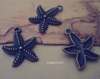 15pcs  Antique Bronze starfish pendant charm 23mm