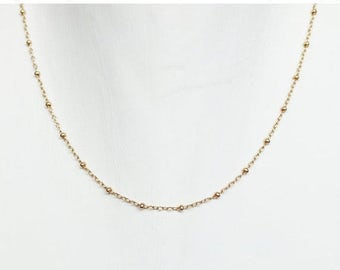 Layering Satellite Necklace - Beaded Chain Gold Filled Necklace - Layering Necklace - Sterling and Gold Necklace - Everyday Necklace