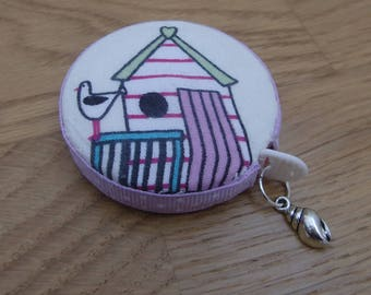 Beach Hut, Sailing Boat Covered Retractable Tape Measure