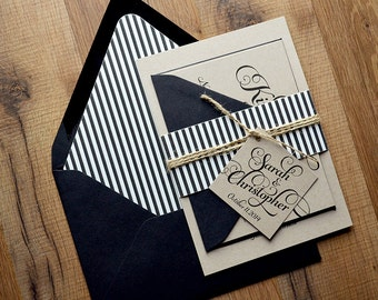Rustic Wedding Invitation, Black & Kraft Wedding Invite - LASER PRINTED Deposit to Get Started