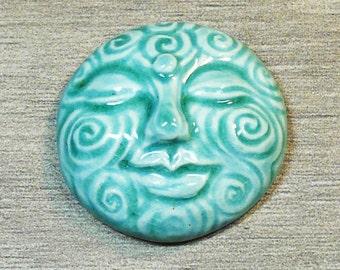 Large Spiral Face Ceramic Cabochon Stone in Seafoam