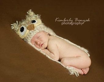 Newborn Owl Hat - Fuzzy Baby Owl Hat - Baby Crochet Hat Photo Prop
