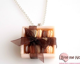 Food Jewelry Macarons Gift Box Necklace, Miniature Food, Polymer Clay Jewelry, Mini Food Jewelry, Kawaii Jewelry, Cute Jewelry, Handmade