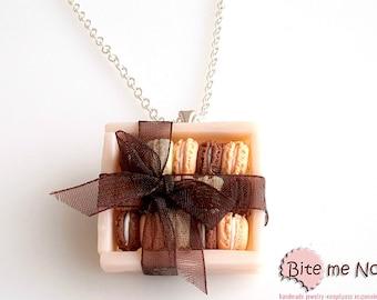 Food Jewelry Macarons Gift Box Necklace, Miniature Food, Polymer Clay Jewelry, Mini Food Jewelry, Kawaii Jewelry, Cute Jewelry, Handmade
