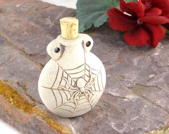 Peruvian Ceramic High Fire Spider Bottle