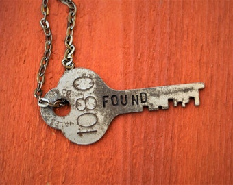 "Hand Stamped Vintage Key ""FOUND"" Necklace (#416) - Jewelry Necklace Pendant Custom"