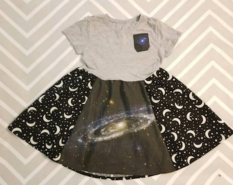 Galaxy dress, LAST ONE, space dress, pocket shirt, andromeda, apollo, nasa, astronaut, geeky girl, science dress, glow in the dark