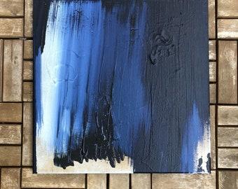 Contemporary Art acrylic on canvas modern Indigo Gold Blue