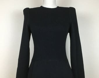 Vintage St. John for Neiman Marcus Solid Black Knit Sweater Dress; Vintage Long Sleeve Dress