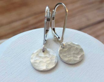 Hammered Earrings Silver Round Drop Small Silver Dangle Earrings Coin Disc Disk Circle Sterling Silver Everyday Jewelry