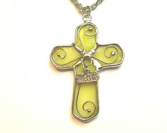FAITH Glass CROSS, Silver Solder Decorated Lemon Green Glass Cross, Mens Cross with Thirty Inch Neck Chain, OOAK Vintage Cross and Chain