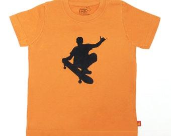 Organic S/S Oranger Skater Dude T Shirt - 6 months to 12 years