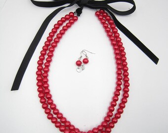 Christmas Necklace,Red Necklace,Pearl Necklace,Statement Necklace,Bridal Necklace,Bridesmaid Gifts,Bridal Jewelry Sets,Gift For Her