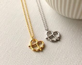 Pretzel Necklace, matte silver pretzel necklace, matte gold pretzel necklace, pretzel charm jewelry, Pretzel pendant, Food jewelry