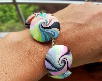 Handmade polymer clay color swirl lentil bead bracelet