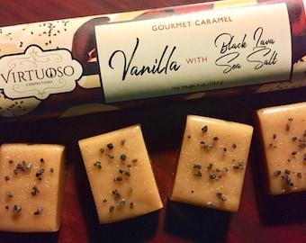 Vanilla Caramel with Hawaiian Black Lava Sea Salt: Gourmet Caramel Bar - 4oz (113g)