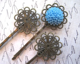 Bobby Pin / Hair Pin 6 to 15 pcs Antique Bronze Filigree Flower 23mm Tray / Bobby Pin with Pad for Cabochon Flowers