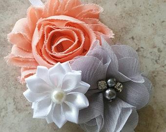 Peach and Gray Headband, Peach Headband, Gray Baby Headband, Gray Headband, Peach Baby Headband, Newborn Headband, Flower Girl Headband
