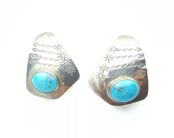 Vintage Sterling Silver and Turquoise Native American Freeform Convex Hammer Patterned Earrings