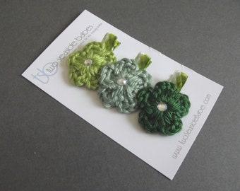 CLEARANCE Green Hair Cliips Green Argyle Hair Clips Crochet Flower Hair Clips Pea Green Sage Green Dark Green Baby Girl Hair Clips Flower