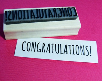 Congratulations Sentiment Text Rubber Stamp  Lucky Stamper - Best Wishes - Celebration - Card Making - New Job - Exams - Graduation