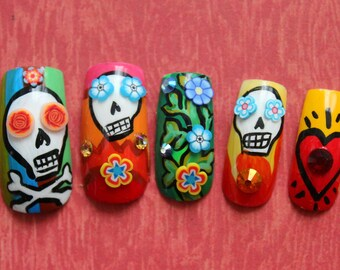 Dia De Los Muertos Press On Nails | Sugar Skull Fake Nails | Day of The Dead Nails | Handpainted Fake Nails | Dia De Los Muertos Nails