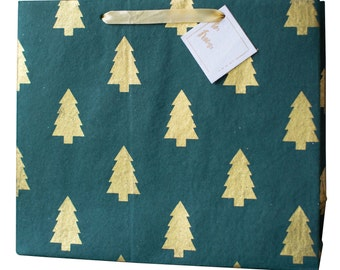 Luxury Emerald Green & Gold Trees Holiday Gift Bag (Set of 3)