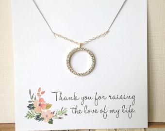 Mère du marié don, mère en cadeau de la Loi, collier de diamants CZ, cadeau de fête des mères, Collier cercle, cadeau de remerciement, cadeau de mariage