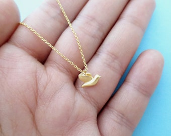 Tiny, Cute, Dove, Bird, Gold, Silver, Necklace, Dainty, Animal, Necklace, Birthday, Friendship, Mom, Sister, Gift, Jewelry