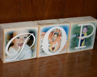 Personalized gift- Photo Letter Blocks- MOM Dad POP Sis- set of 3
