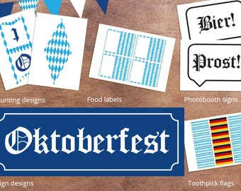 Complete Oktoberfest Party Printable Decorations - Oktoberfest signs - Oktoberfest bunting - German Party Decorations -Oktoberfest Party