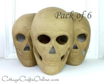 Halloween Skeleton Skull  Mask, 8 Inches, Pack of SIX,  Paper Mache  Decor, Wreath & Craft Supply, Darice Craft
