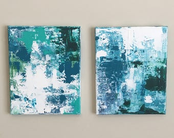 Abstract Canvas Art Abstract Canvas Painting Abstract Canvas Wall Art Set of 2 Abstract Canvas Blue Green White Teal Ocean Colors Two 8x10s