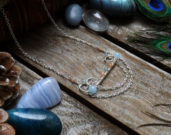 Silver plated wrapping copper wire necklace apatite, aquamarine, iolite, Sun stone: ᘛ nymphs .ᘚ cradle.