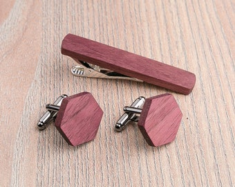Wooden tie Clip Cufflinks Set Wedding Purpleheart Cufflinks. Wood Tie Clip Cufflinks Set. Mens Wood Cuff Links, Groomsmen Cufflinks set.