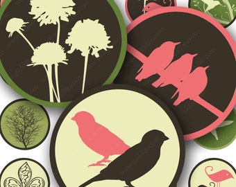 Spring Modern Birds and Swirls Digital Collage Sheet in 1 Inch Circles Pink Brown Mod Download Printable for Bottlecaps Jewelry piddix 568